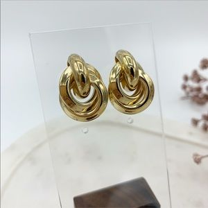 Bold Cluster Group Earrings Gold